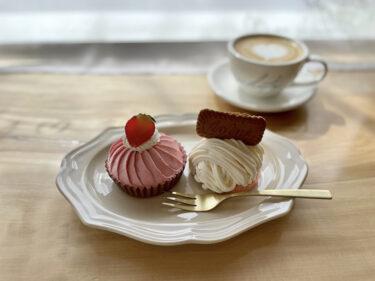山手カフェ『WHITE. cafe』シンプルかわいい韓国風カフェの「春限定モンブランセット」